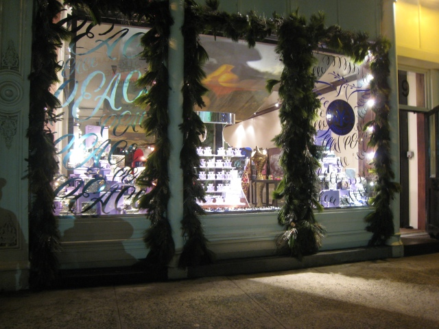 Bond no. 9 Storefront with Holiday Decorations
