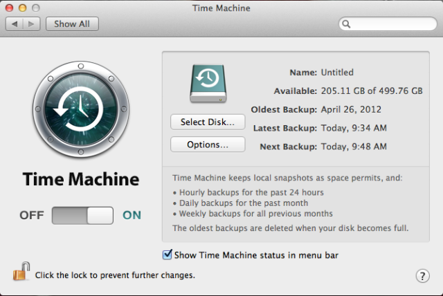 Time Machine on a MacBook Pro