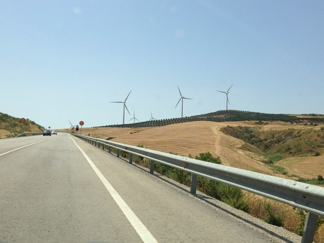 Windmills.  Objects in camera may be larger than they appear.